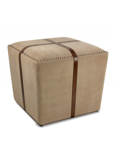 Square Canvas & Leather Straps Ottoman Footstool