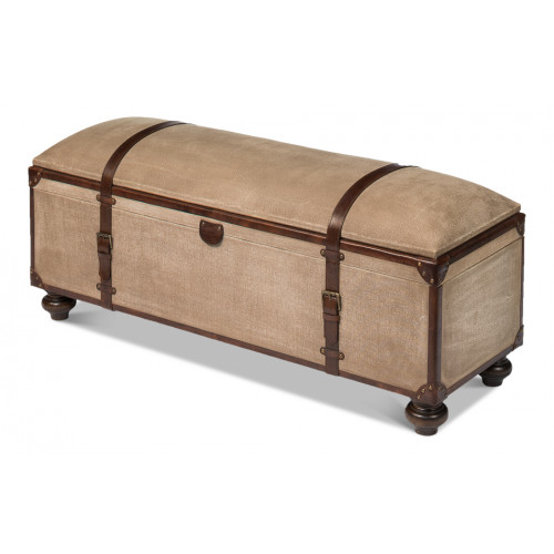Canvas & Leather Straps Trunk Bench