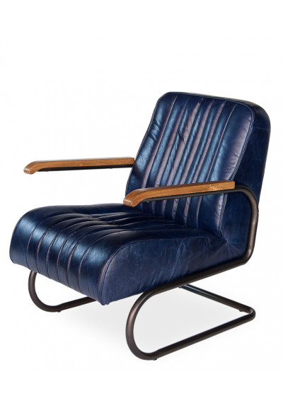 Blue Leather Quilted Club Chair
