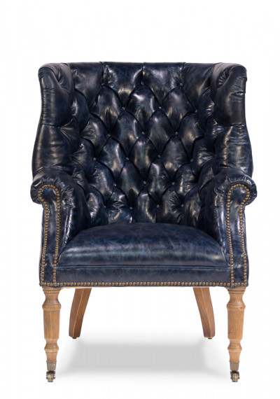 Navy Blue Tufted Leather Library Chair