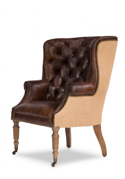 Dark Tufted Vintage Leather & Jute Library Chair