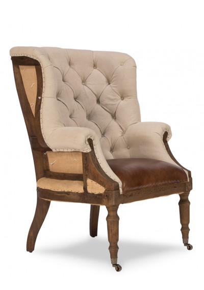Tufted Linen Vintage Leather & Jute Deconstructed Library Chair