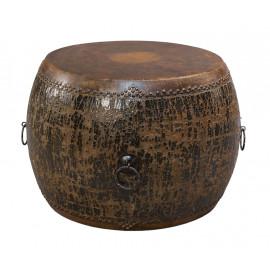 Distressed Black Round Drum End Table