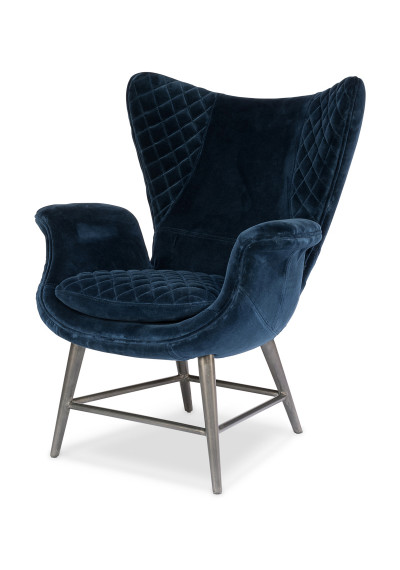 Blue Quilted Velvet Wing Arm Chair