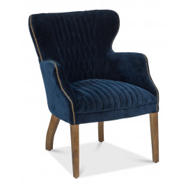 Blue Velvet Quilting Pattern Accent Lounge Chair