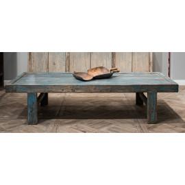 Blue Finish Farmhouse Pine Wood Coffee Table