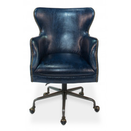 Blue Leather Desk Chair on Casters