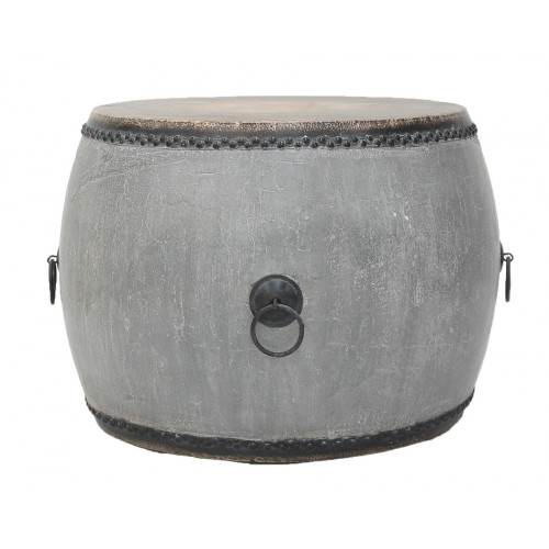 Distressed Grey Round Drum End Table