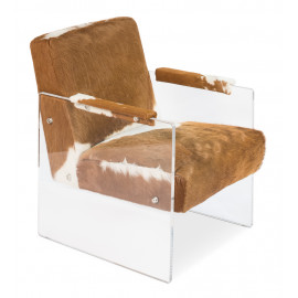 Floating Cowhide Leather Acrylic Body Lounge Chair