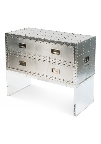 Silver Metal Cabinet with Rivets & Acrylic Base