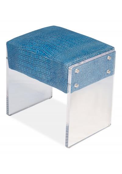 Aqua Blue Lizard Leather Flat Acrylic Legs Footstool Ottoman