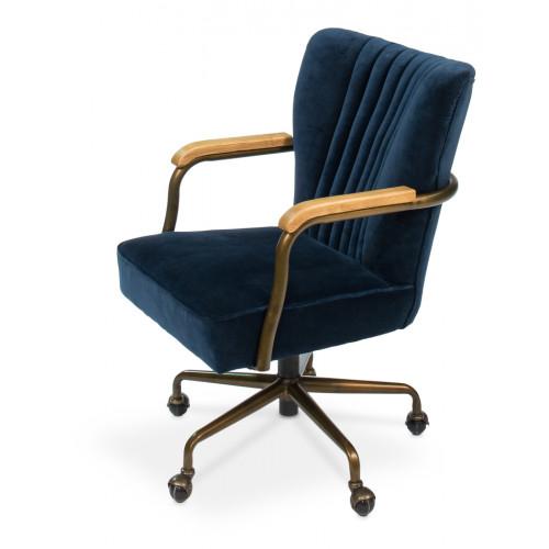 Blue Velvet Swivel Office Chair on Casters