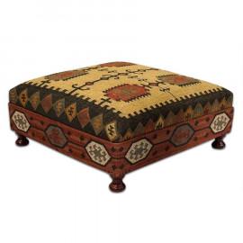 Square Wool Kilim Jute Coffee Table Ottoman