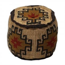 Wool Jute Kilim Pouf Stool Southwestern Design