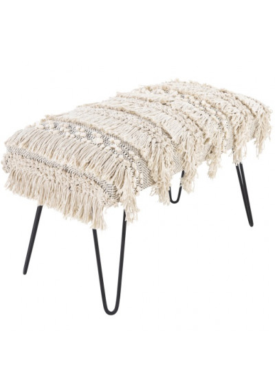 Cream Hand Woven Cotton Shaggy Fringed Bench Metal Legs