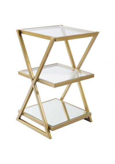 Gold Metal & Glass Geometric Design Side Accent Table