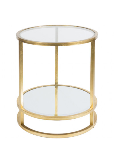 Round Gold Metal Glass :& Mirror Side Accent Table