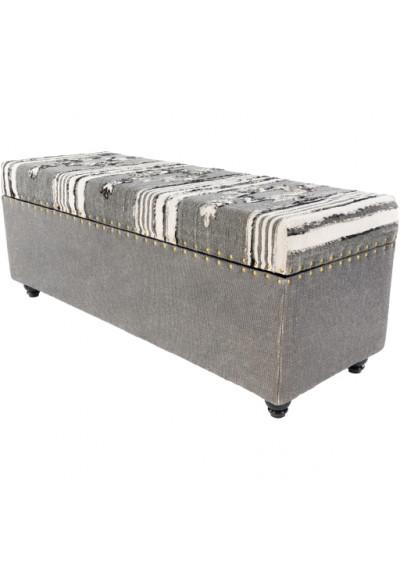 Greys &  Blacks Southwestern Style Multi Print Stoage Bench