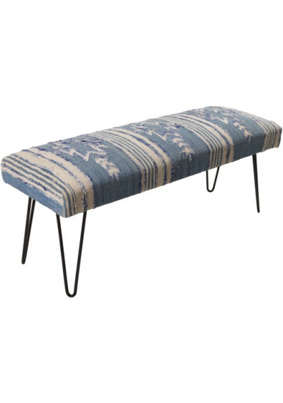 Blue Cream Southwestern Style Multi Print Bench Metal Legs