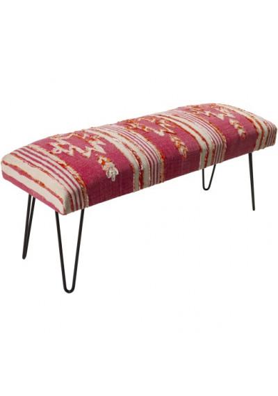 Pink Red Cream Southwestern Style Multi Print Bench Metal Legs