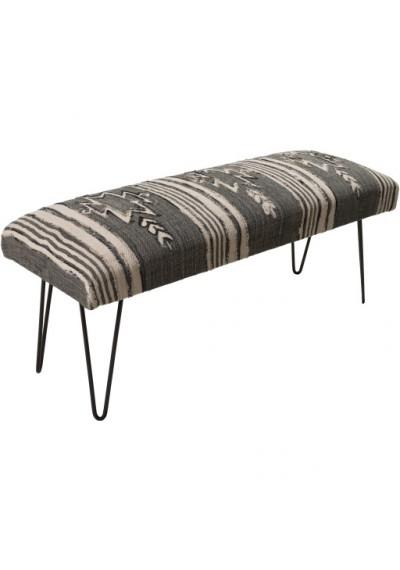 Greys &  Blacks Southwestern Style Multi Print Bench Metal Legs