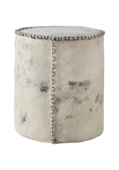Round Cylinder Wool Felted Large Stitch Cream & Dark Brown Pouf