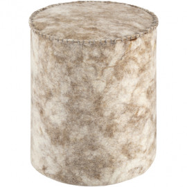 Round Cylinder Wool Felted Large Stitch Cream & Carmel Brown Pouf