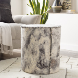 Round Cylinder Wool Felted Large Stitch Charcoal & Ivory Pouf