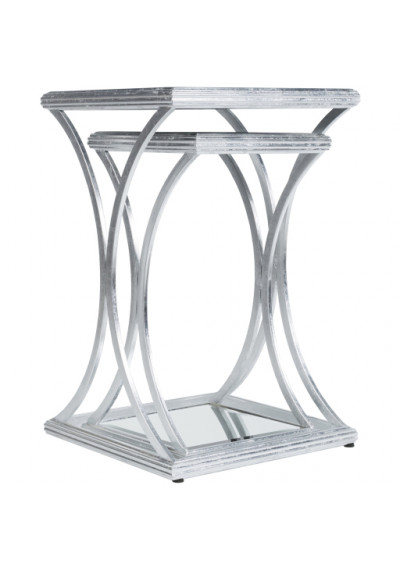 Silver Rustic Metal Glass & Mirror Tops Nesting Side Accent Tables