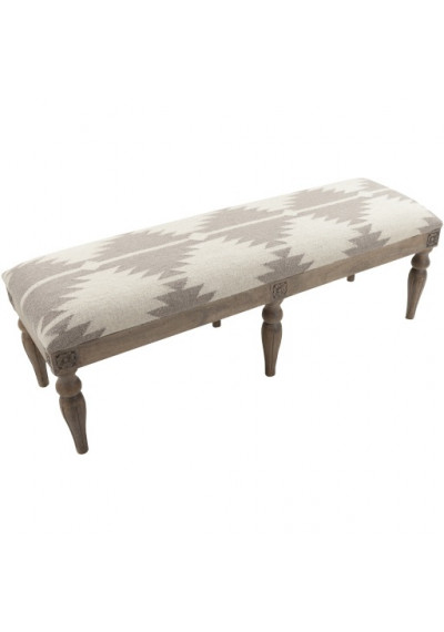 Cream & Taupe Wool Southwestern Style Woven Wood Leg Extra Long Bench