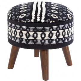 Cotton Hand Woven Black & White Print Round Storage Footstool