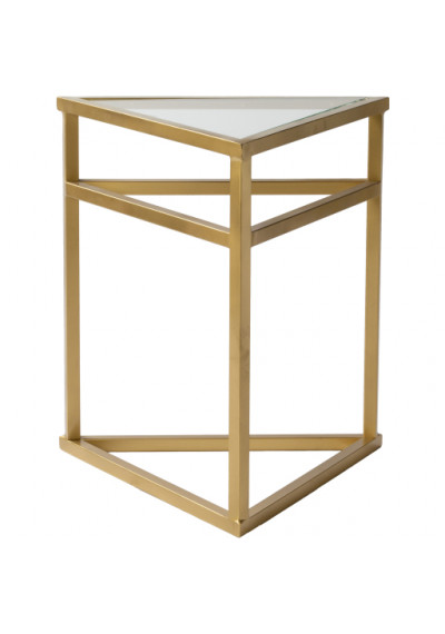Gold Metal Triangle Glass Top Side Accent Table