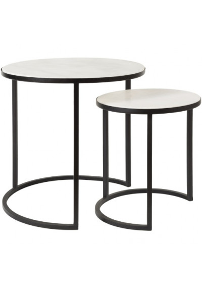 Black Iron Ivory Marble Round Top Nesting Side Accent Tables