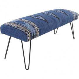 Blue Southwestern Style Multi Print Bench Metal Legs