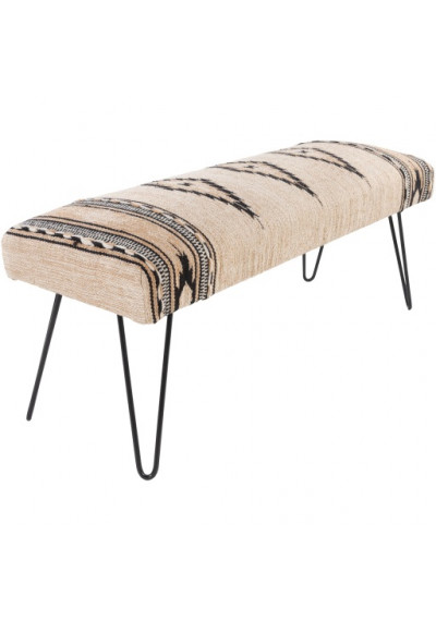 Cream Black Southwestern Style Multi Print Bench Metal Legs