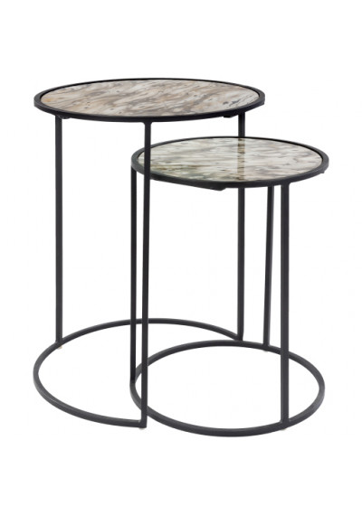 Black Iron Marbled Glass Round Top Nesting Side Accent Tables