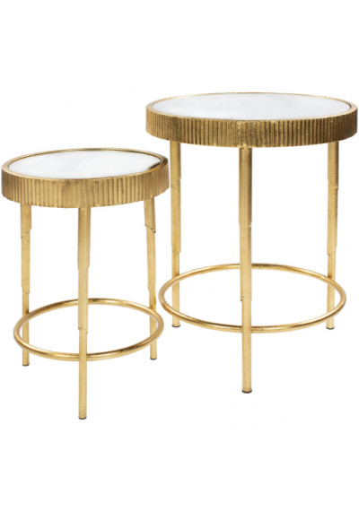 Gold Rustic Metal Glass & Mirror Tops Side Accent Tables