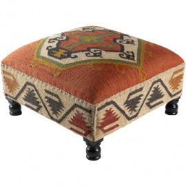 Jute Kilim Woven Southwestern Style Print Ottoman Coffee Table