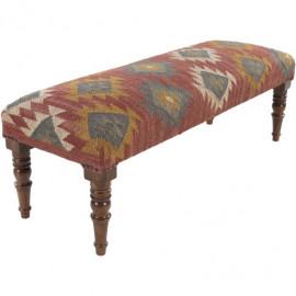 Jute Kilim Woven Southwestern Style Print Bench