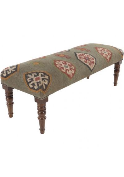 Jute Kilim Woven Southwestern Style Multi Print Bench