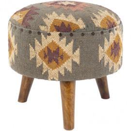 Jute Kilim Woven Southwestern Style Multi Print Round Footstool