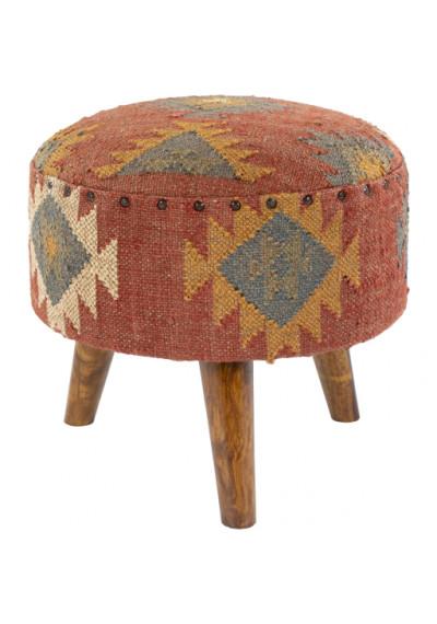 Jute Kilim Woven Southwestern Style Print Round Footstool