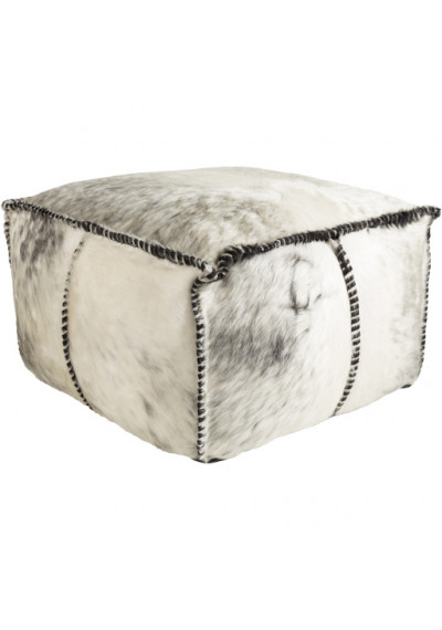 Large Square Hair on Hide Leather Square Blanket Stitch Pouf