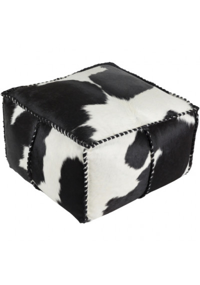 Large Square Hair on Hide Black & White Leather Square Blanket Stitch Pouf