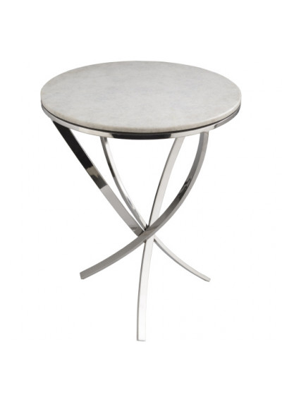 Round White Marble Top Silver Metal Twist Legs Side Accent Table