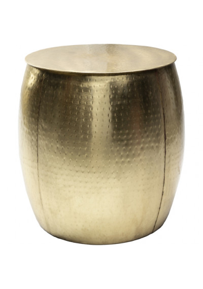 Hammered Gold Round Metal Drum Side Accent Tables