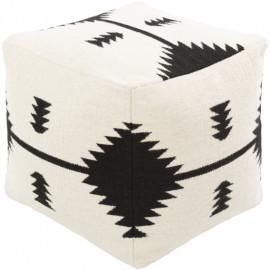 Cotton Hand Woven Black & White Southwestern Style Print Square Pouf