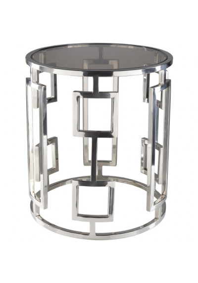 Glossy Silver Chain Design Glass Top Round Side Accent Table 2 Sizes