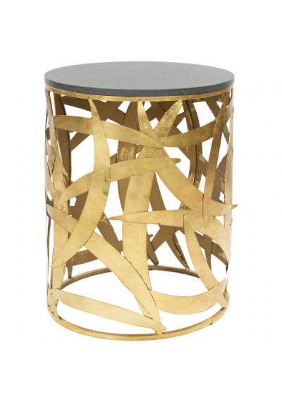 Gold Rustic Metal Unique Black Speckled Top Side Accent Table
