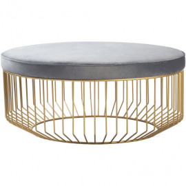 Grey Velvet Round Gold Cage Base Ottoman Coffee Table